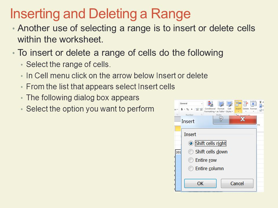 Inserting and Deleting a Range