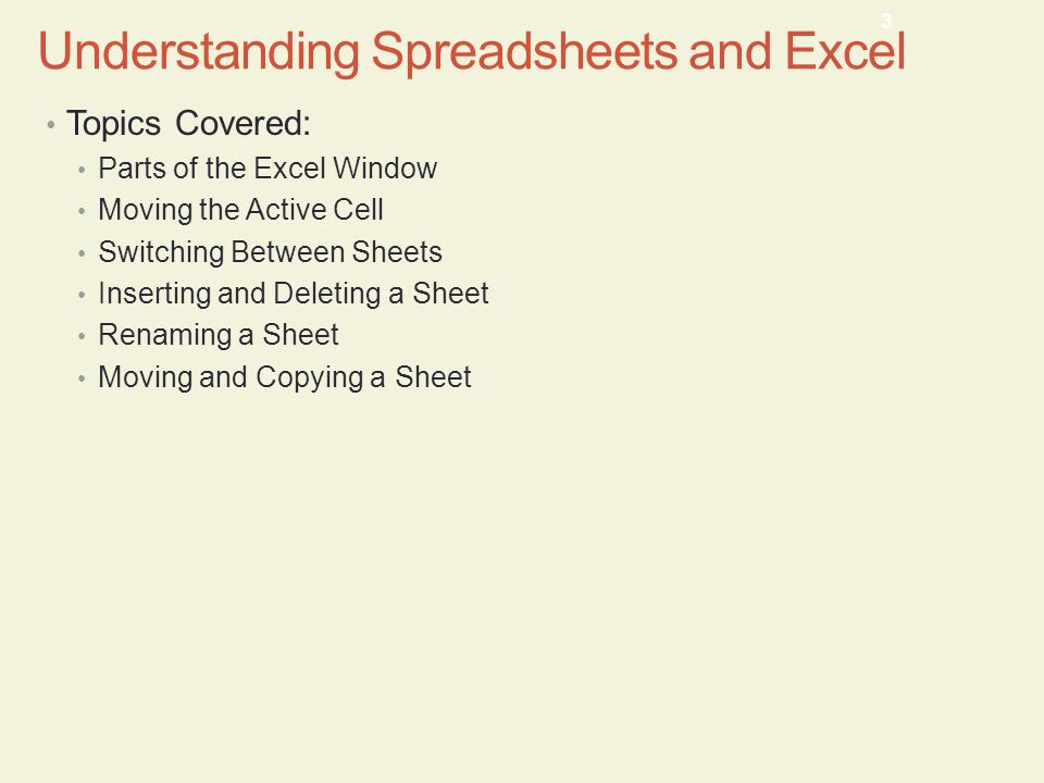 Understanding Spreadsheets and Excel