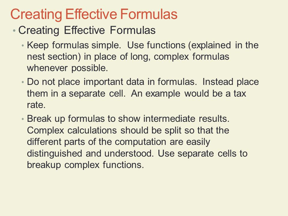 Creating Effective Formulas