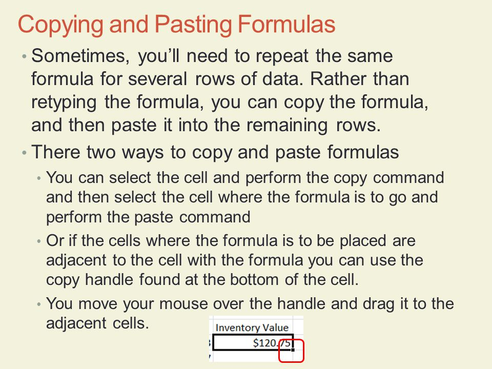 Copying and Pasting Formulas