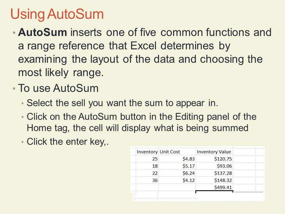 Using AutoSum