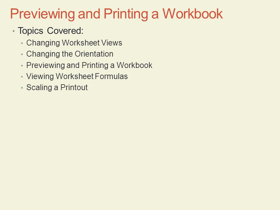 Previewing and Printing a Workbook
