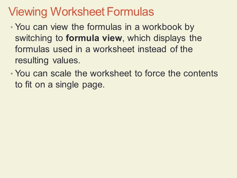 Viewing Worksheet Formulas