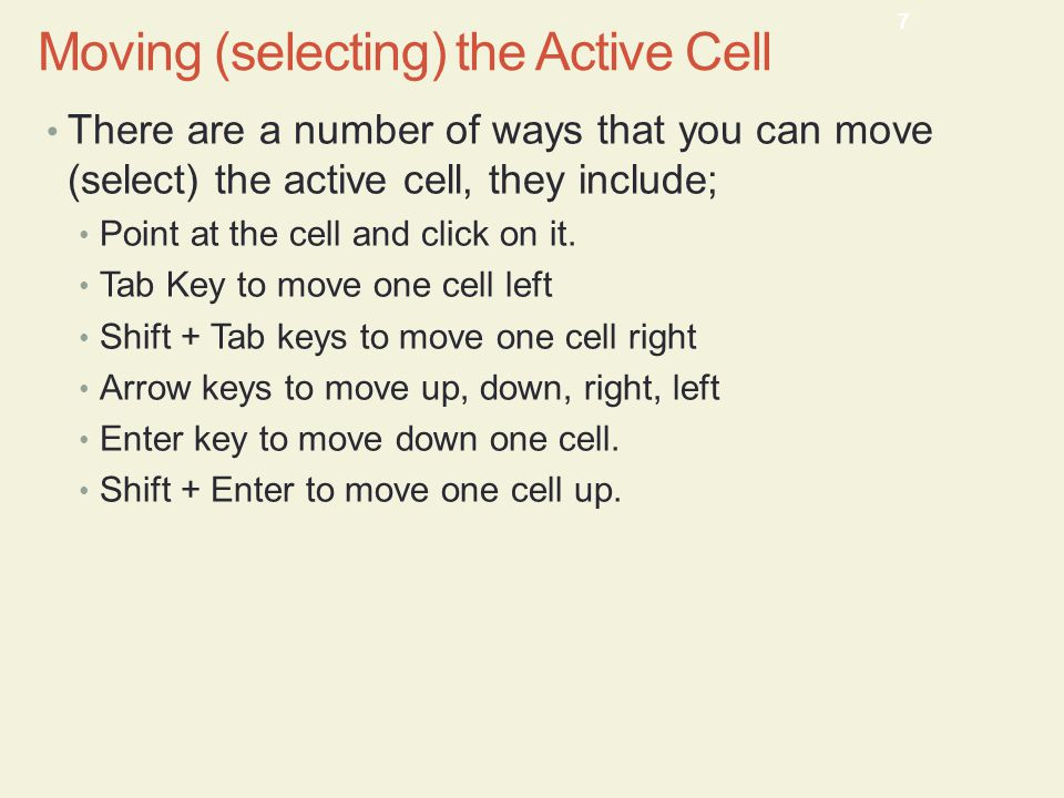 Moving (selecting) the Active Cell