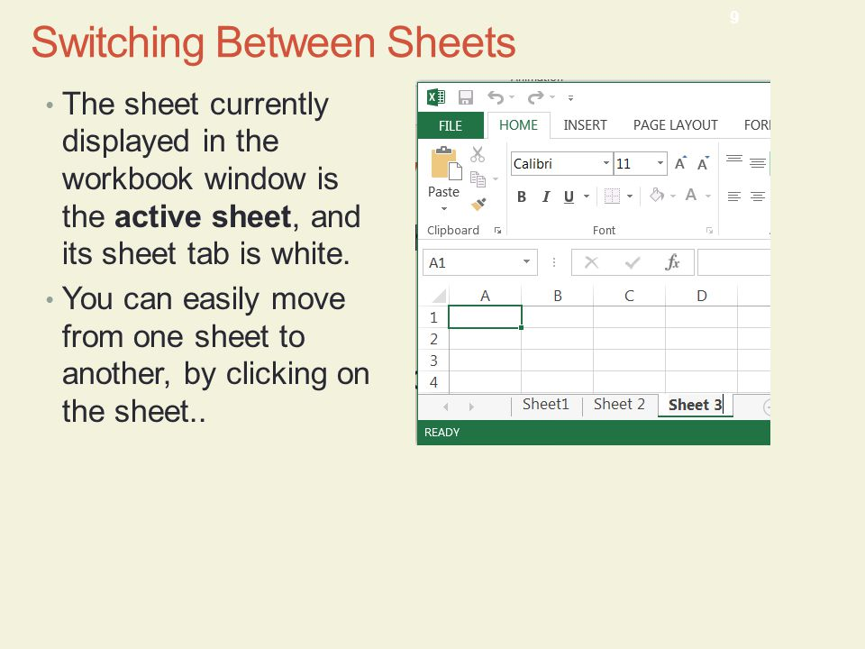 Switching Between Sheets