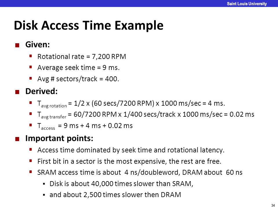 Disk Access Time Example