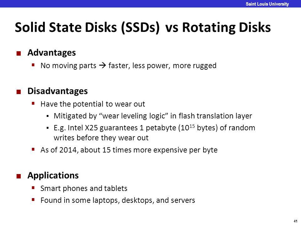 Solid State Disks (SSDs) vs Rotating Disks
