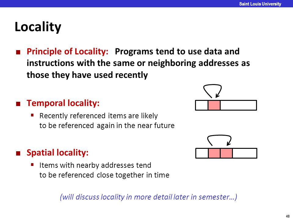 Locality Principle of Locality: Programs tend to use data and instructions with the same or neighboring addresses as those they have used recently.