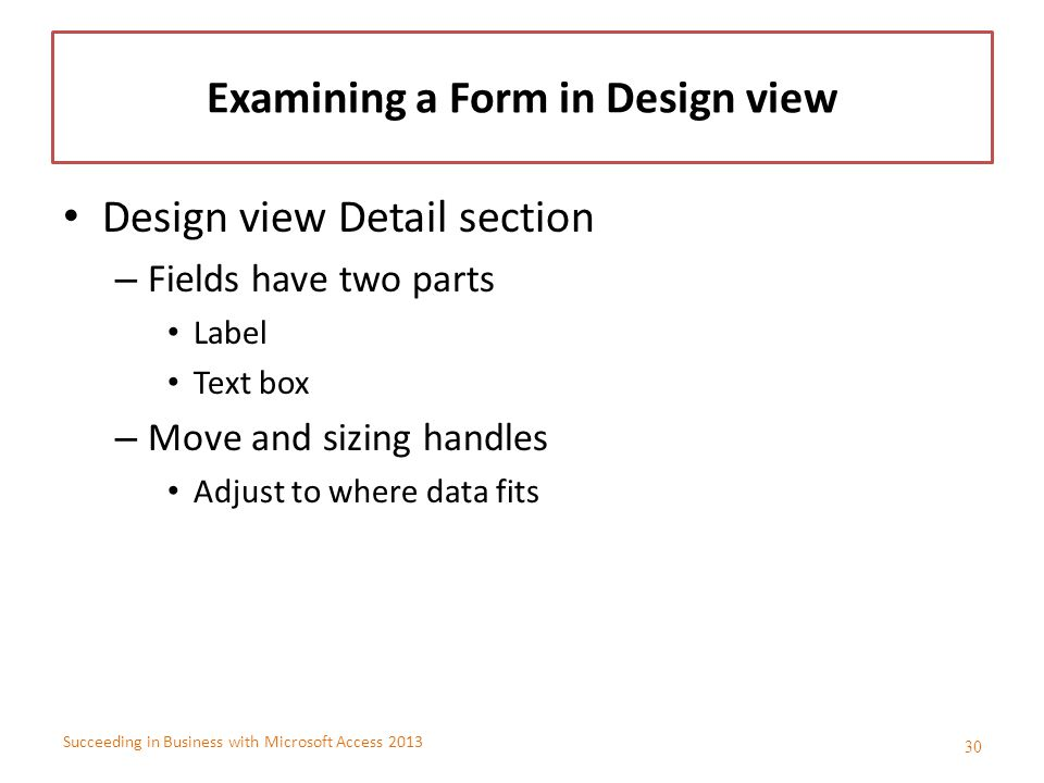 Examining a Form in Design view