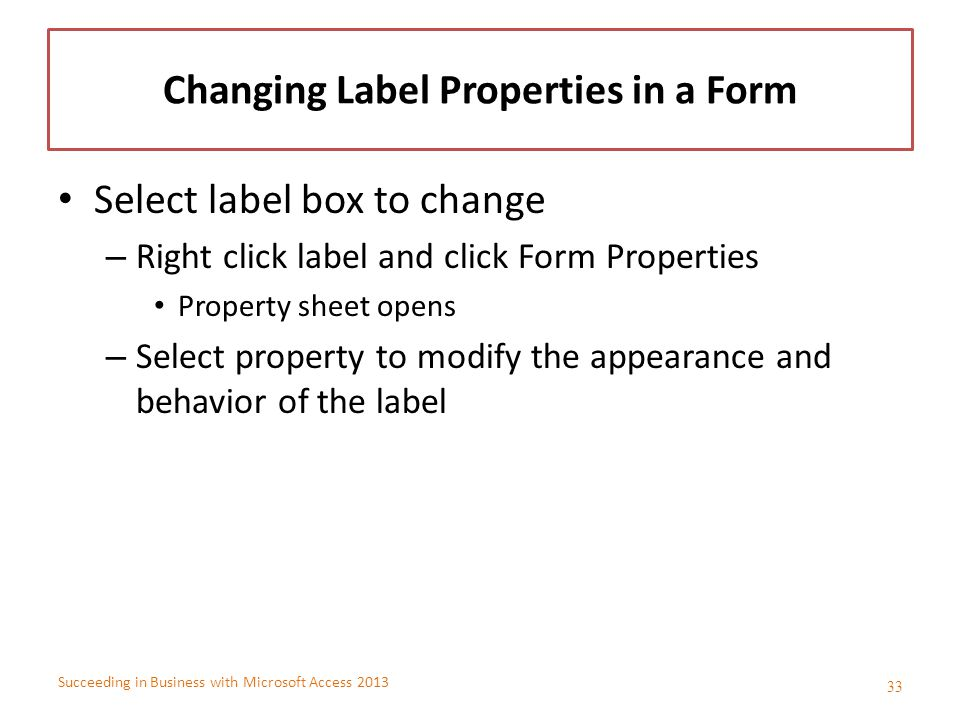 Changing Label Properties in a Form