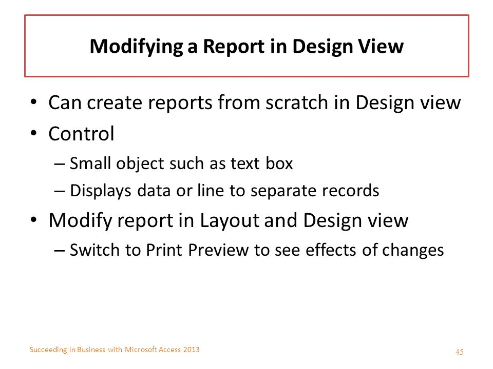 Modifying a Report in Design View