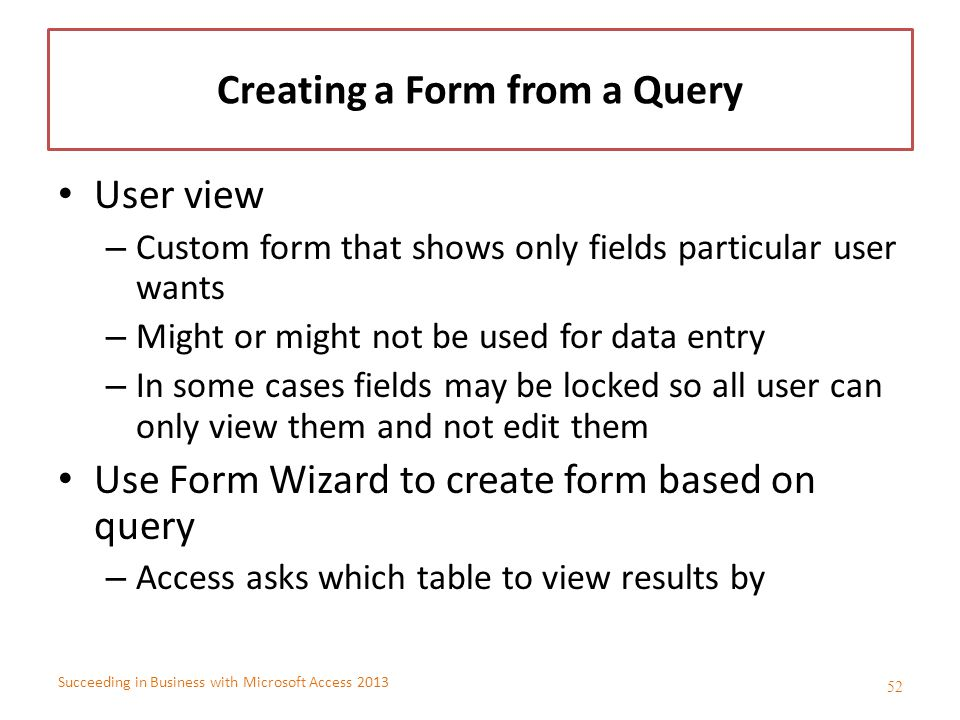 Creating a Form from a Query