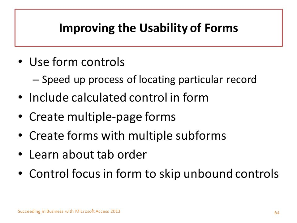 Improving the Usability of Forms