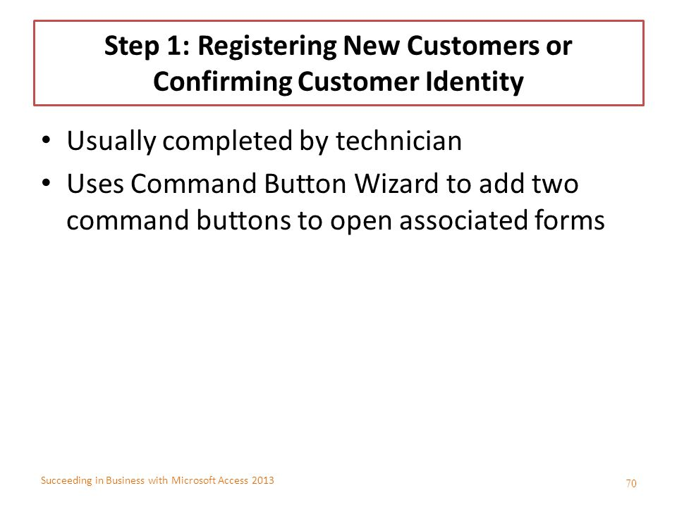 Step 1: Registering New Customers or Confirming Customer Identity