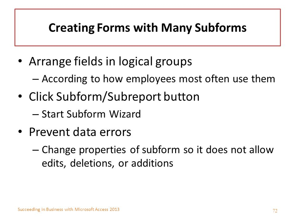 Creating Forms with Many Subforms