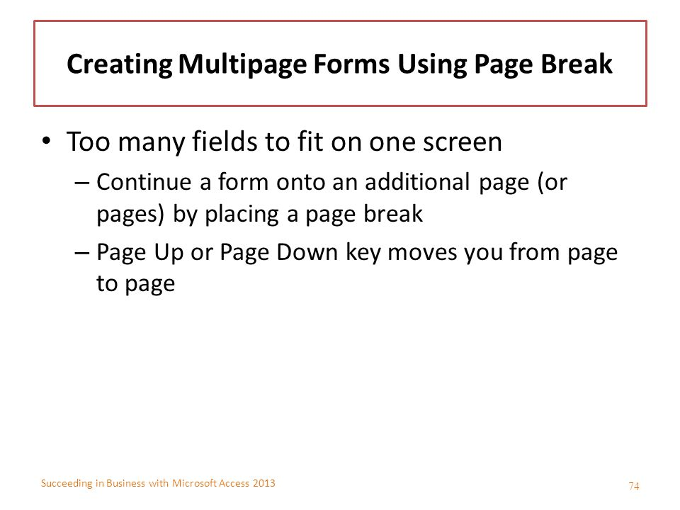 Creating Multipage Forms Using Page Break