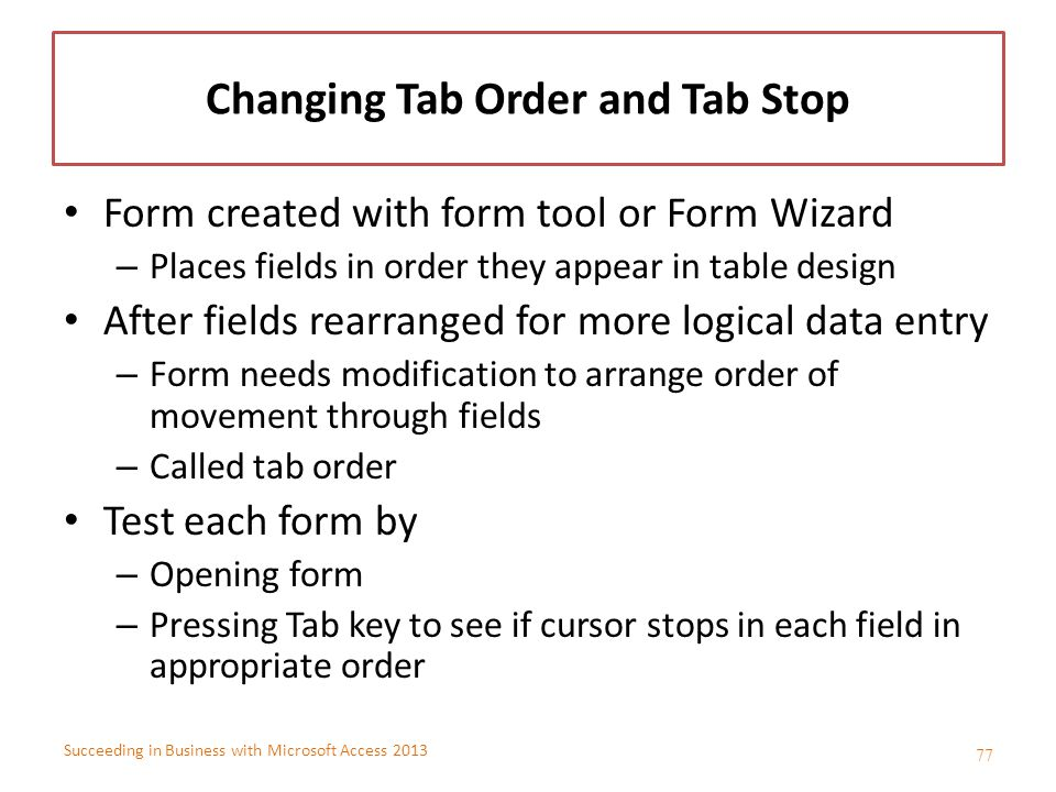 Changing Tab Order and Tab Stop