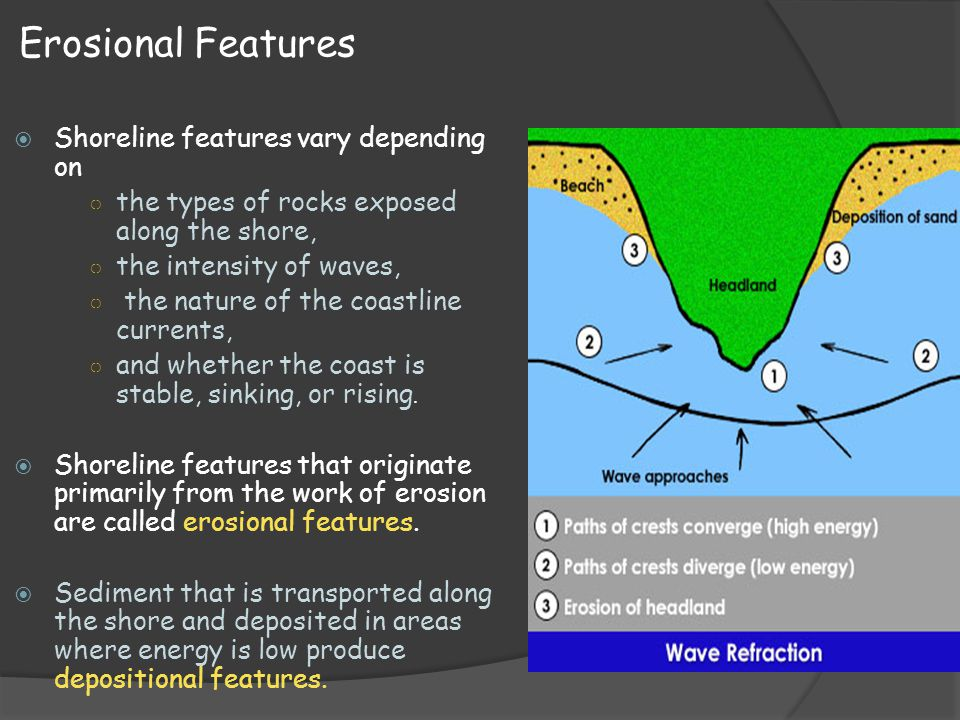 Erosional Features Shoreline features vary depending on