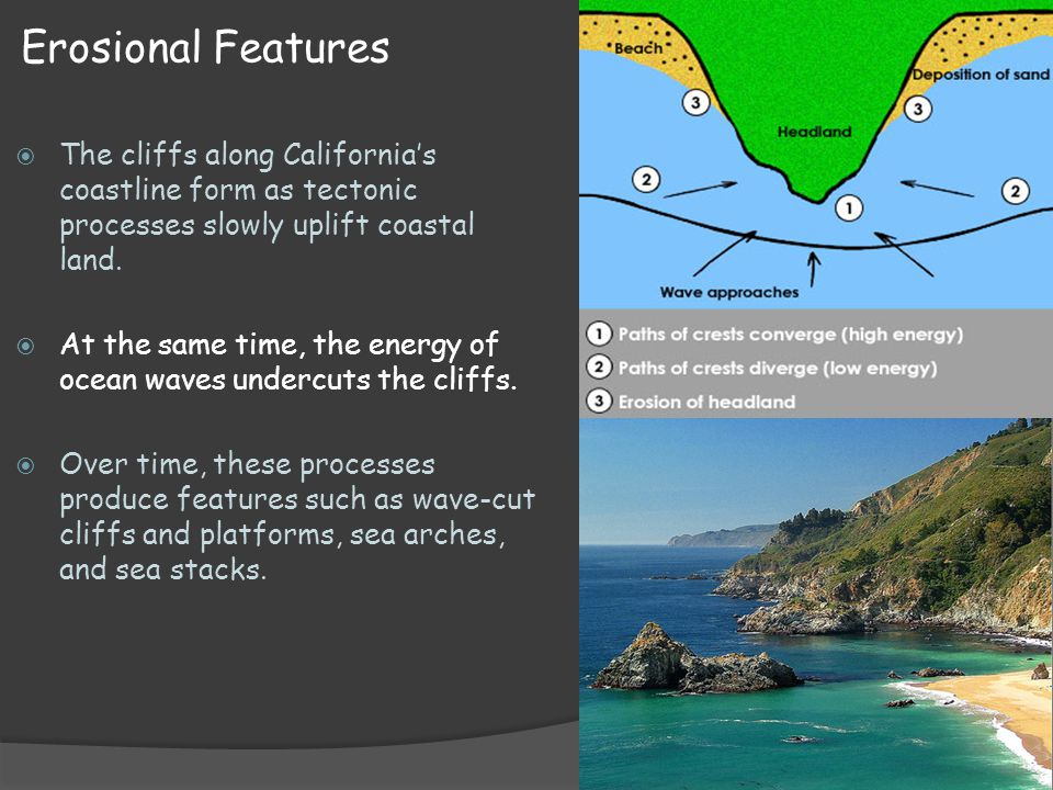 Erosional Features The cliffs along California's coastline form as tectonic processes slowly uplift coastal land.