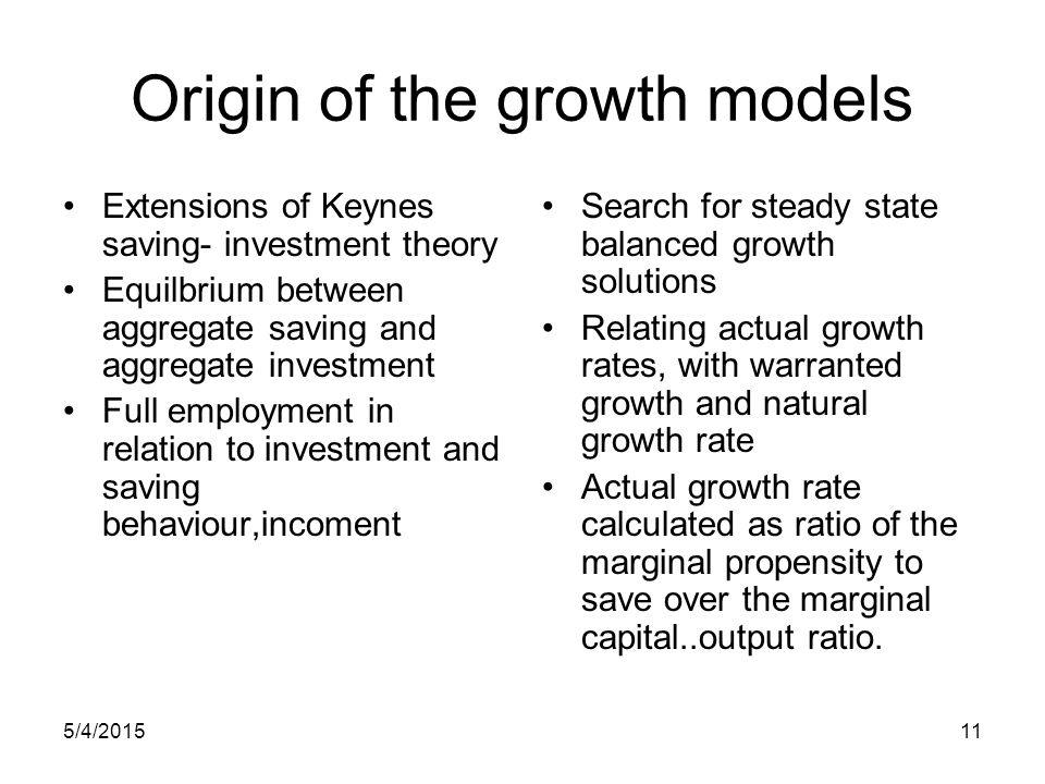Origin of the growth models