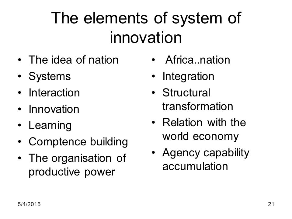 The elements of system of innovation