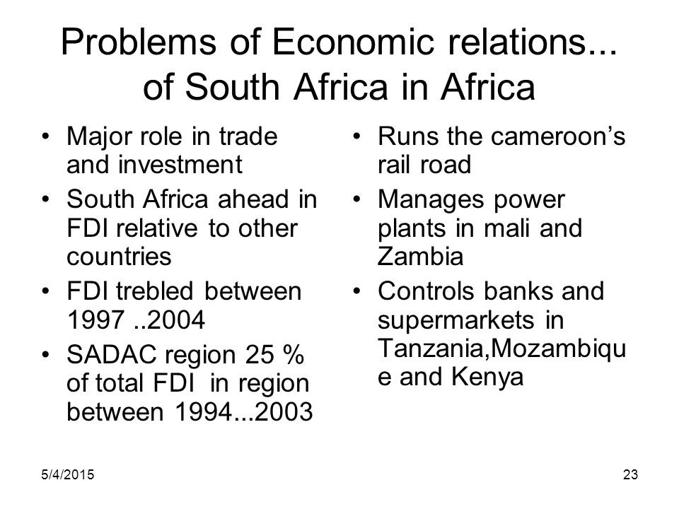 Problems of Economic relations... of South Africa in Africa