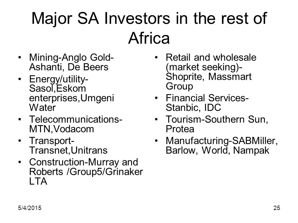 Major SA Investors in the rest of Africa