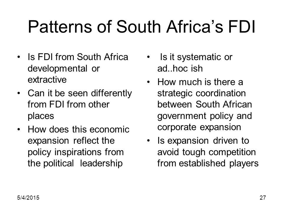 Patterns of South Africa's FDI