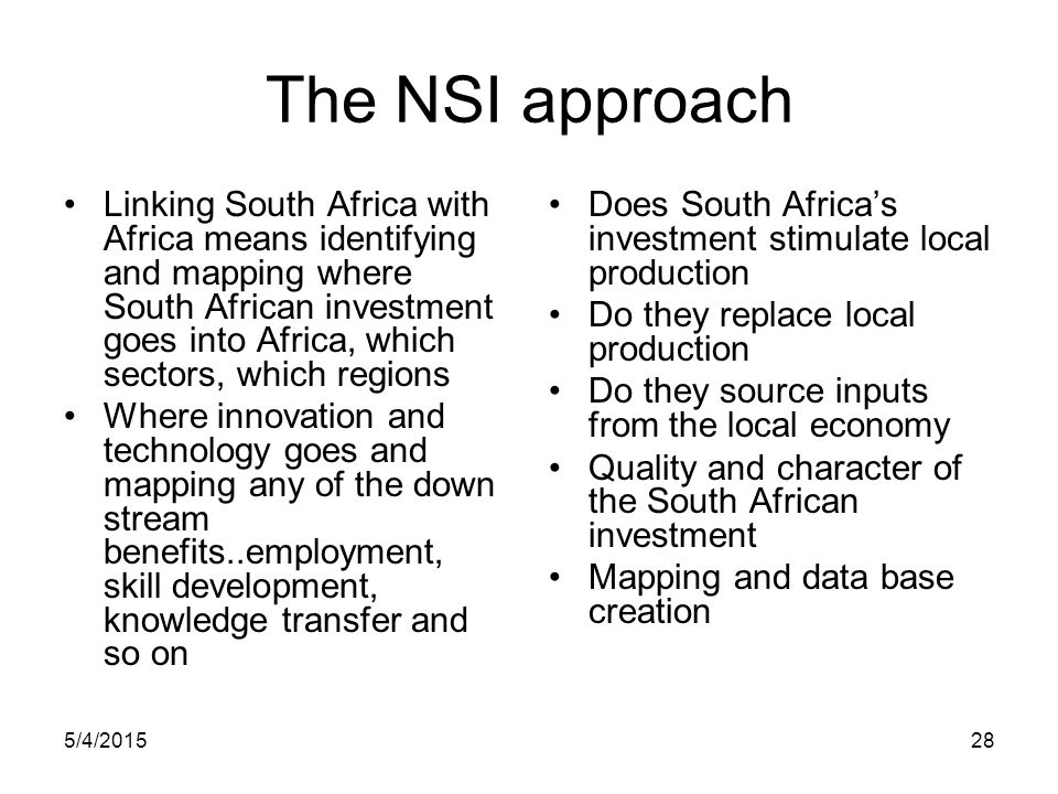 The NSI approach