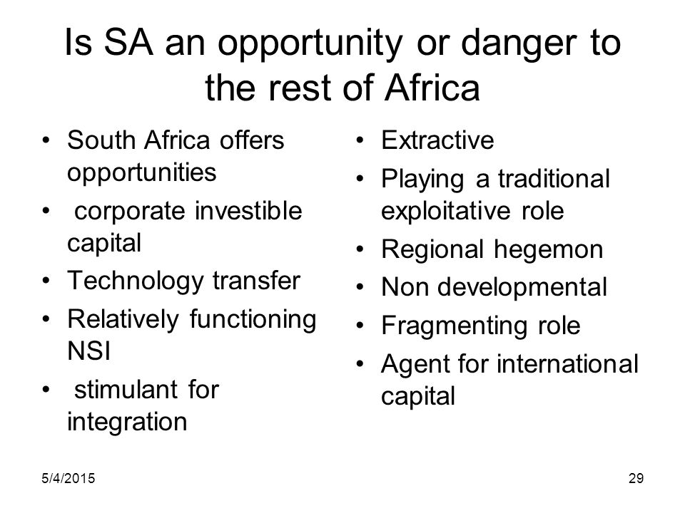 Is SA an opportunity or danger to the rest of Africa