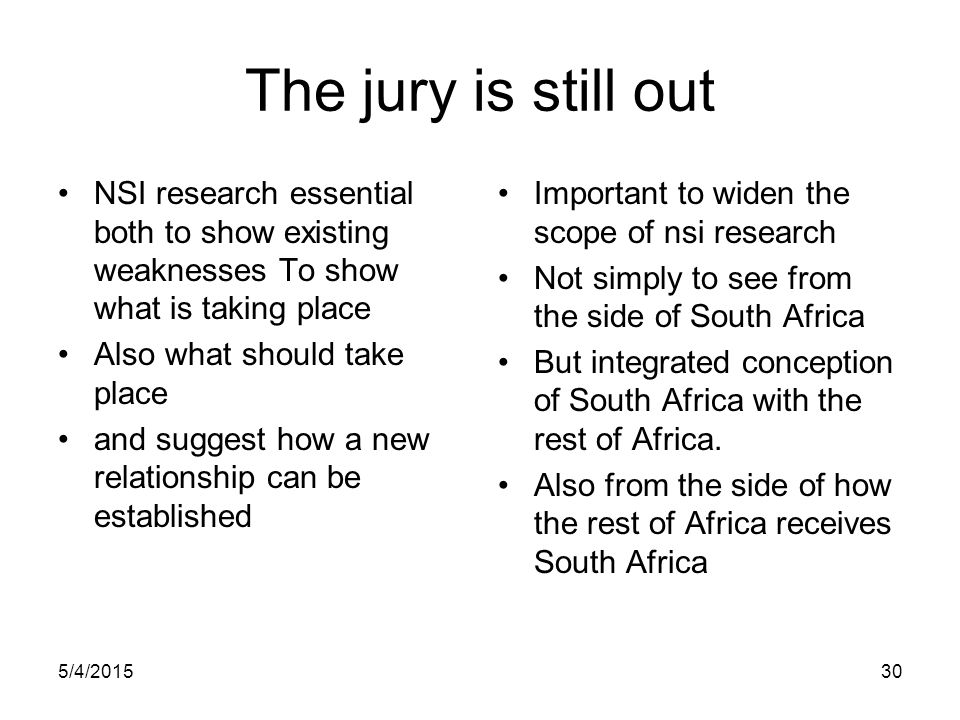 The jury is still out NSI research essential both to show existing weaknesses To show what is taking place.