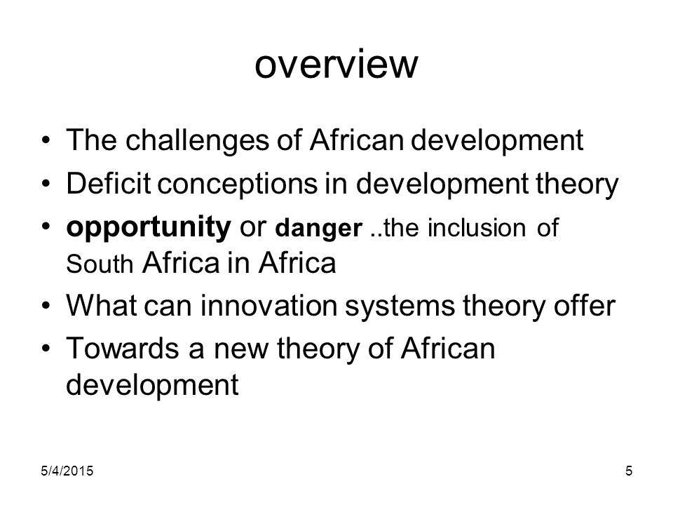 overview The challenges of African development