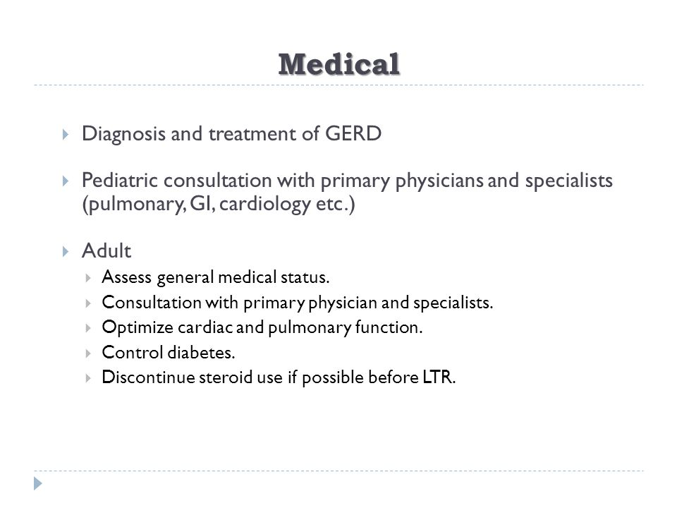 Medical Diagnosis and treatment of GERD