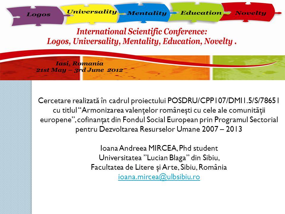 Ioana Andreea MIRCEA, Phd student