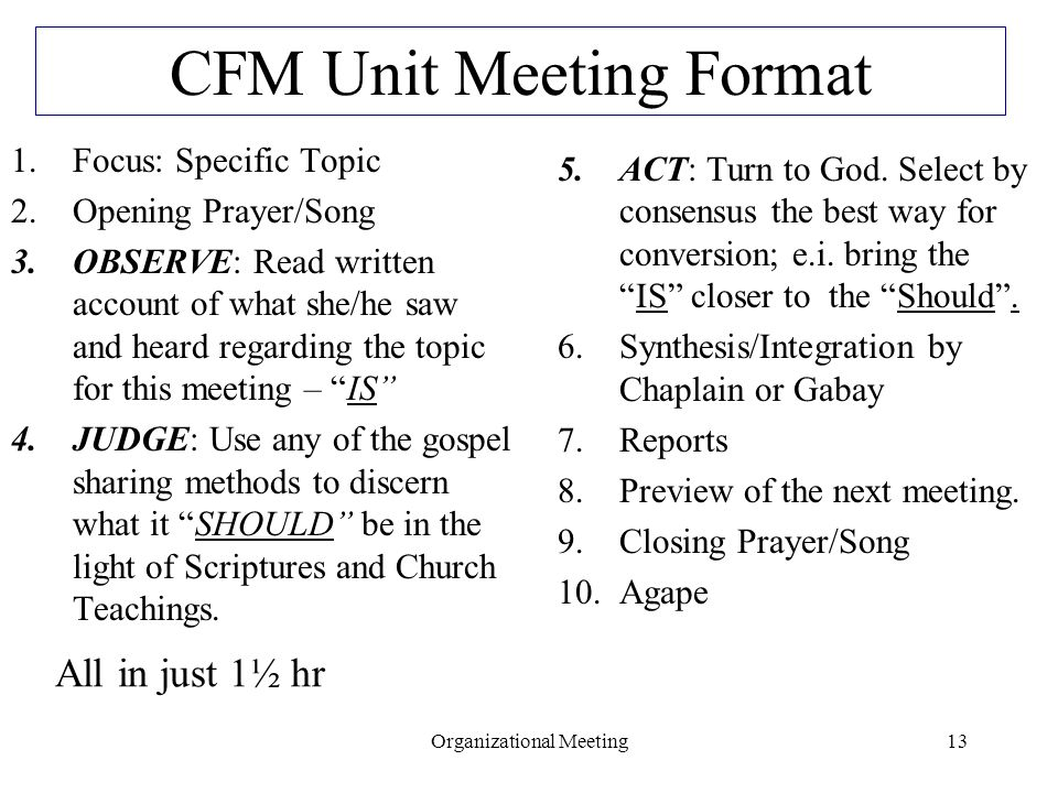 CFM Unit Meeting Format