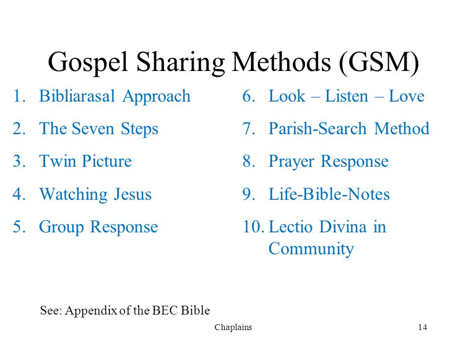 Gospel Sharing Methods (GSM)