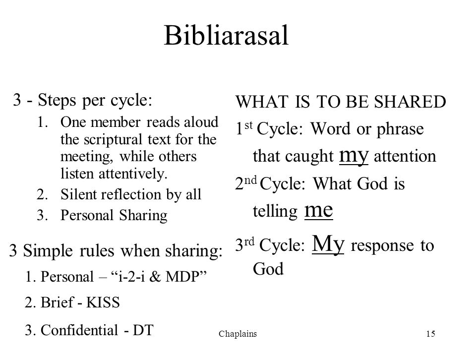 Bibliarasal 3 - Steps per cycle: WHAT IS TO BE SHARED