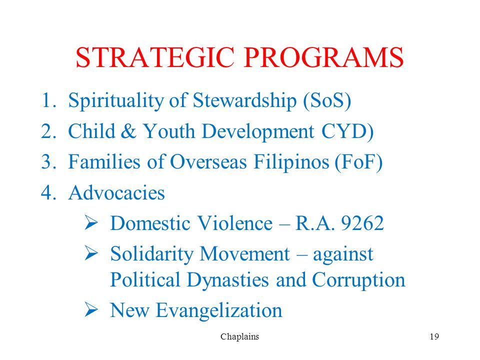 STRATEGIC PROGRAMS Spirituality of Stewardship (SoS)