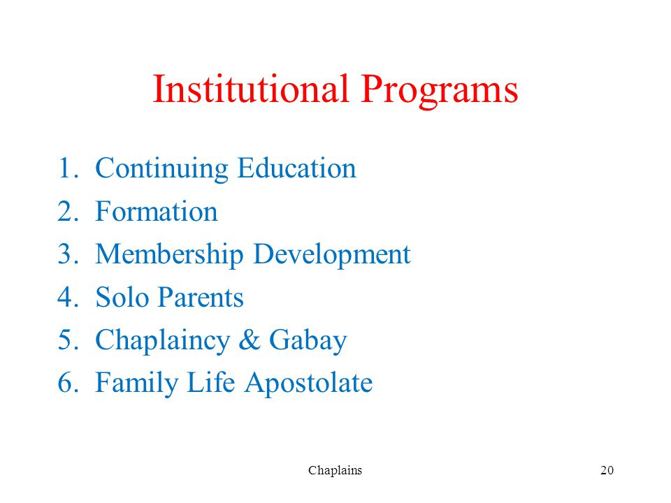 Institutional Programs