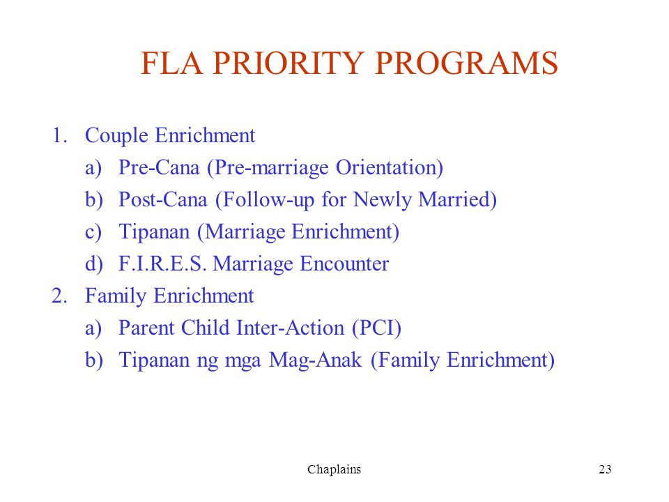 FLA PRIORITY PROGRAMS Couple Enrichment