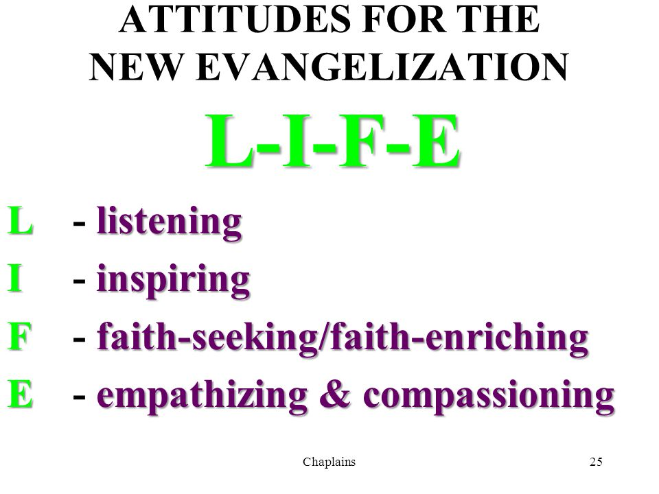 ATTITUDES FOR THE NEW EVANGELIZATION
