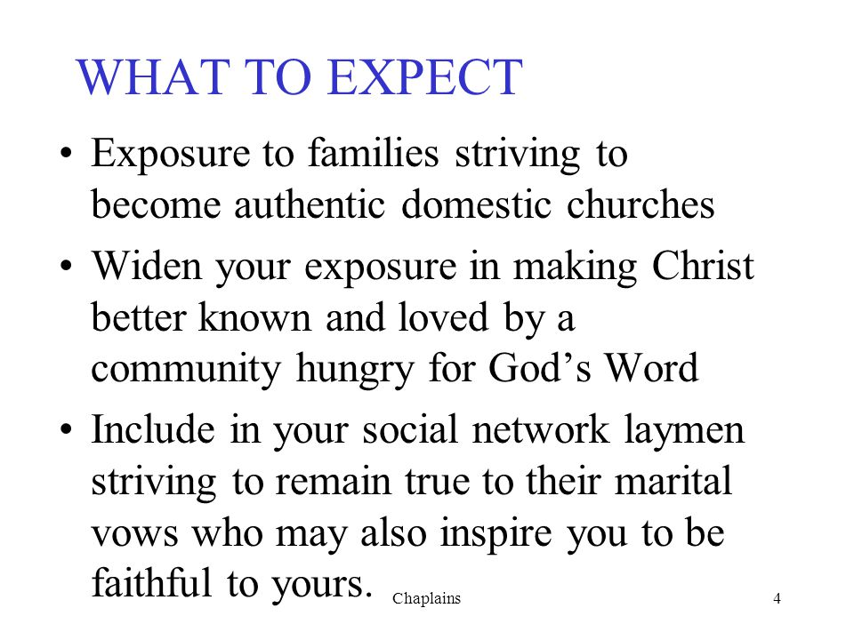 WHAT TO EXPECT Exposure to families striving to become authentic domestic churches.
