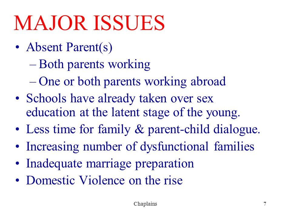 MAJOR ISSUES Absent Parent(s) Both parents working