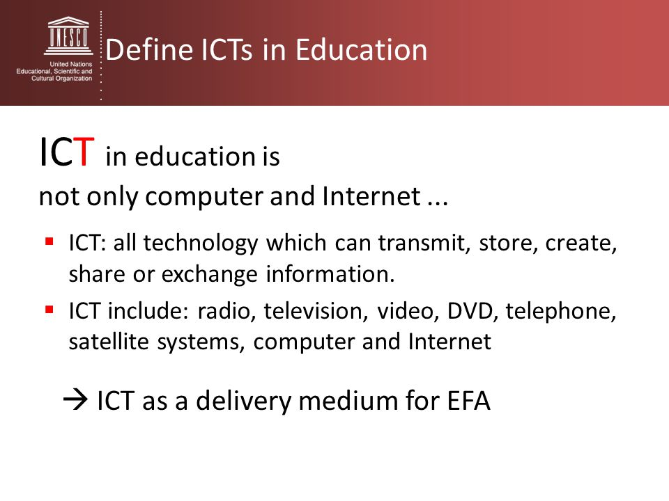 ICT in education is Define ICTs in Education
