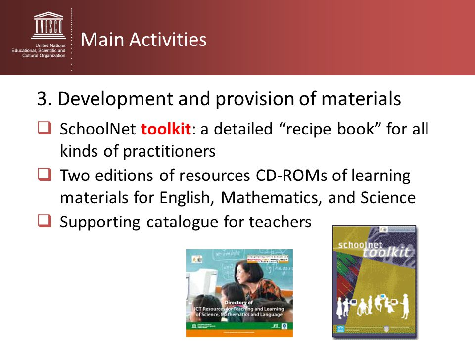 3. Development and provision of materials