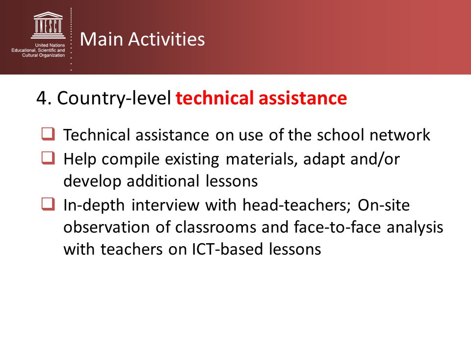 4. Country-level technical assistance