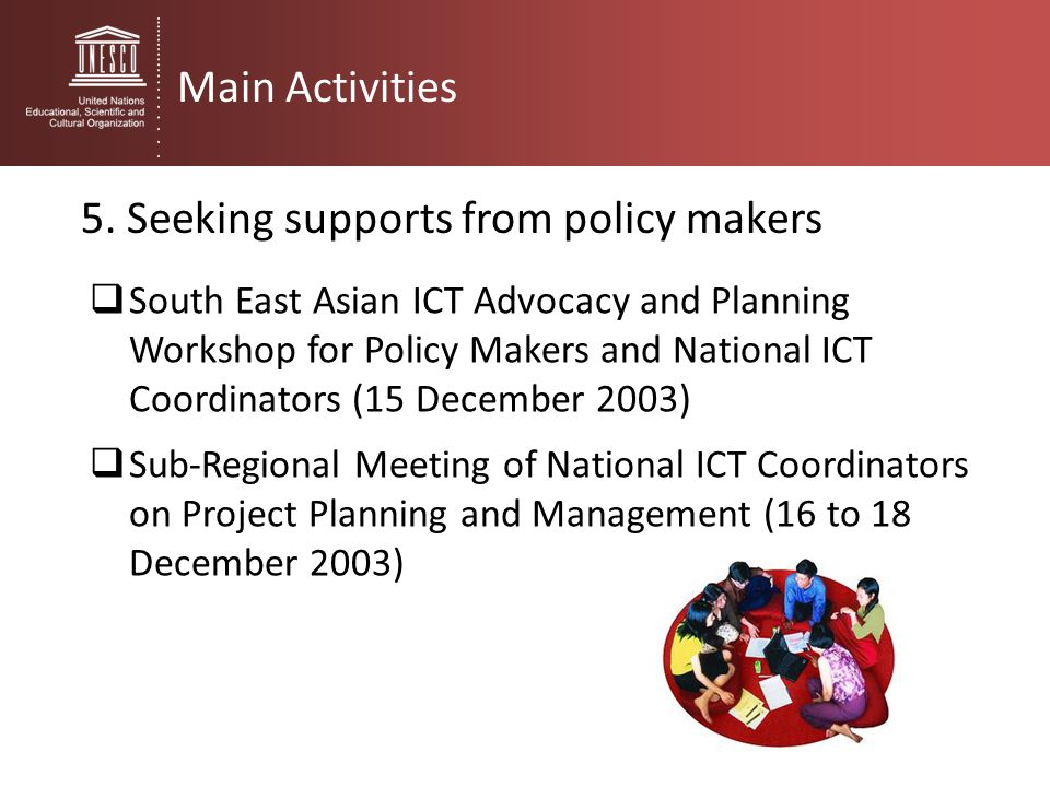 5. Seeking supports from policy makers