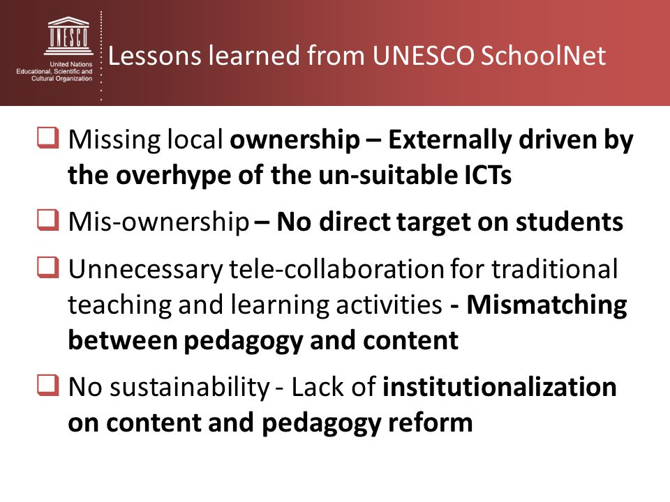Lessons learned from UNESCO SchoolNet