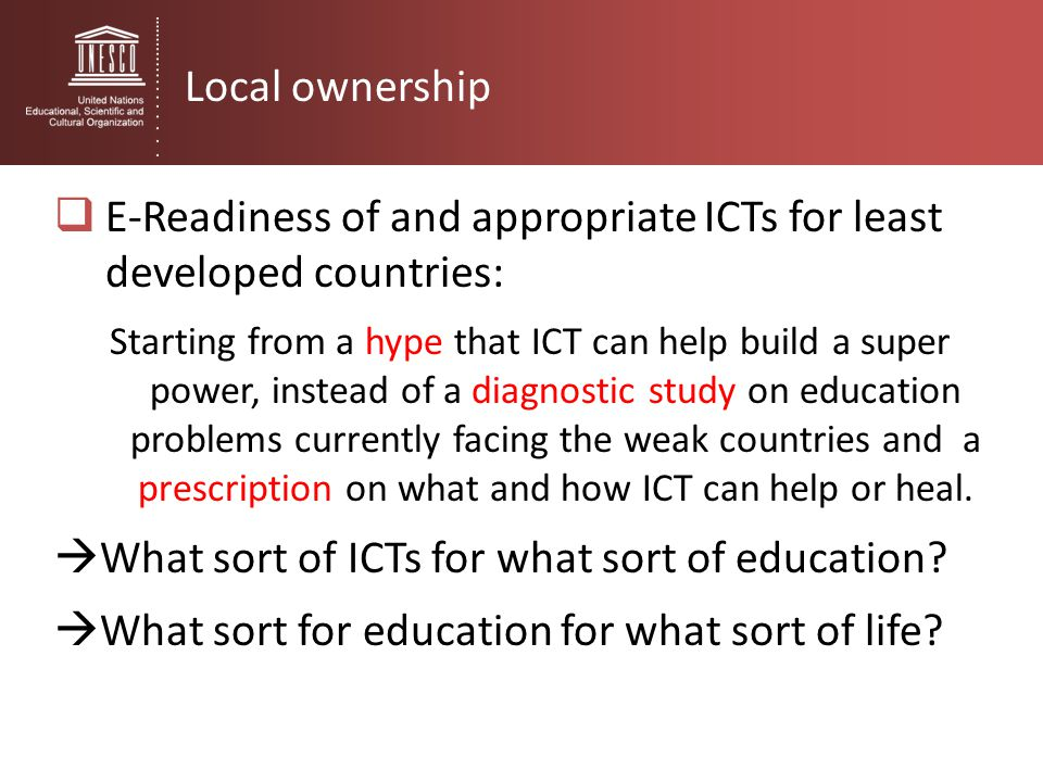 E-Readiness of and appropriate ICTs for least developed countries:
