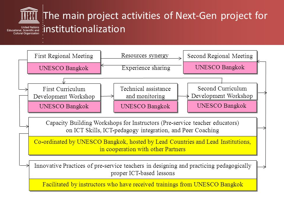 The main project activities of Next-Gen project for institutionalization